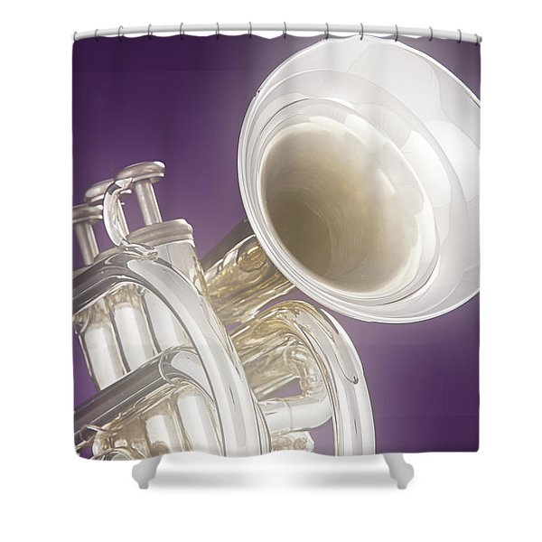 Soft Trumpet On Purple Shower Curtain by M K  Miller