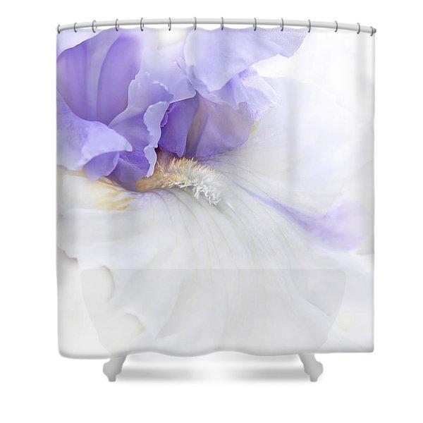 Softness of a Lavender Iris Flower Shower Curtain by Jennie Marie Schell