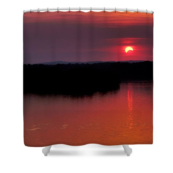 Solar Eclipse Sunset Shower Curtain by Jason Politte