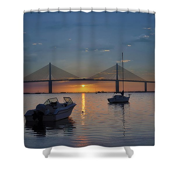 Something About a Sunrise Shower Curtain by Bill Cannon