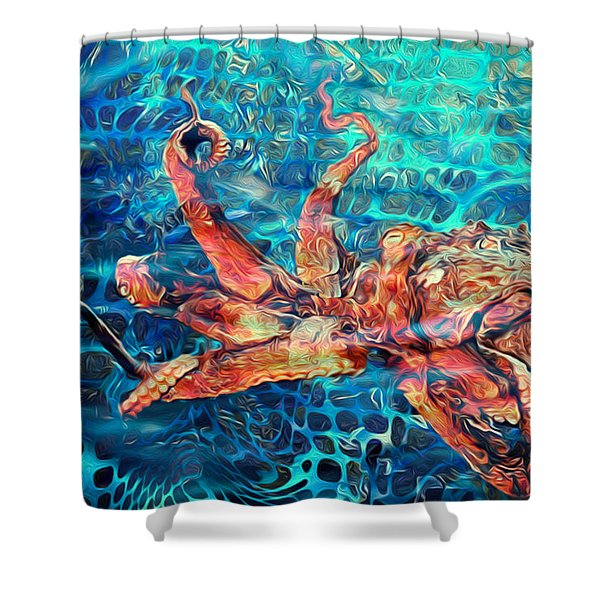 Somethins In The Net Shower Curtain by Jack Zulli