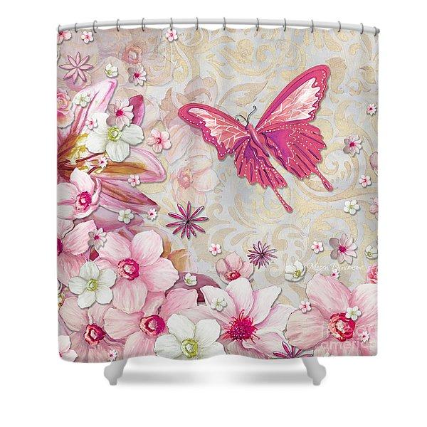 Sophisticated Elegant Whimsical Pink Butterfly Floral Flower Art Springs Joy by Megan Duncanson Shower Curtain by Megan Duncanson