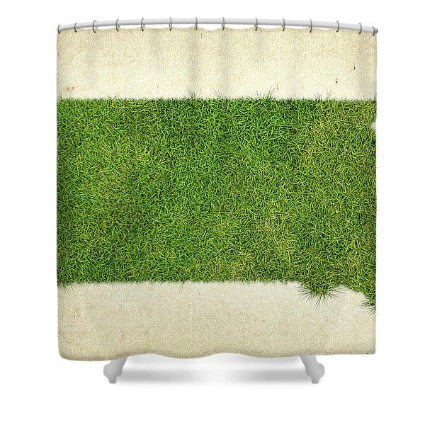 South Dakota Grass Map Shower Curtain by Aged Pixel