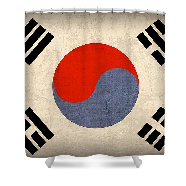 South Korea Flag Vintage Distressed Finish Shower Curtain by Design Turnpike