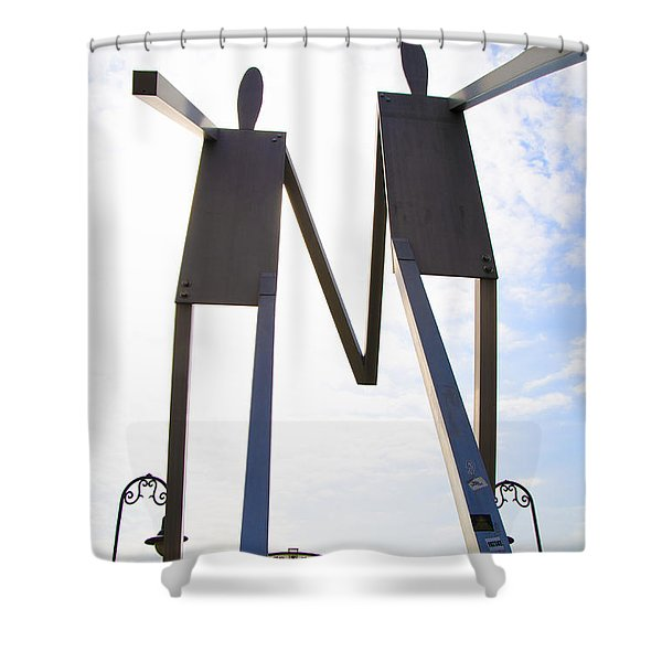 South Street Stick Men Statue Shower Curtain by Bill Cannon