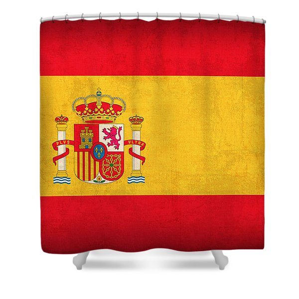 Spain Flag Vintage Distressed Finish Shower Curtain by Design Turnpike