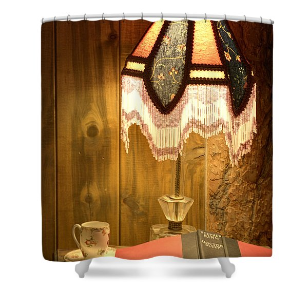 Spencer Bedside Table Shower Curtain by Juli Scalzi
