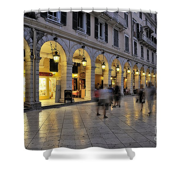 Spianada square during dusk time Shower Curtain by George Atsametakis