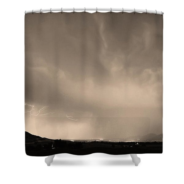 Spider Lightning Above Haystack Boulder Colorado Sepia Shower Curtain by James BO  Insogna