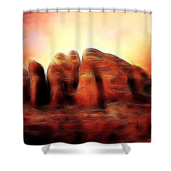 Spirit Mountain Shower Curtain by Ellen Heaverlo