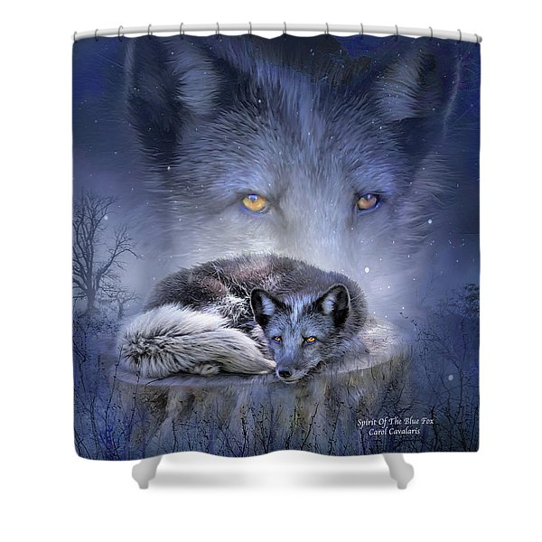 Spirit Of The Blue Fox Shower Curtain by Carol Cavalaris