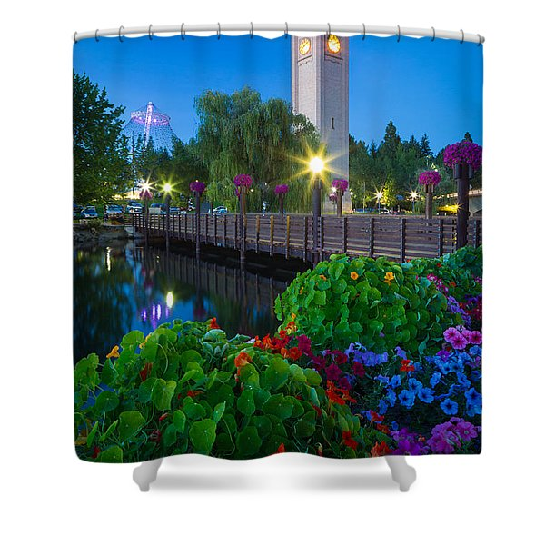 Spokane Clocktower By Night Shower Curtain by Inge Johnsson