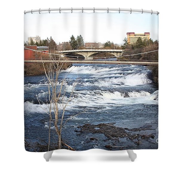 Spokane Falls in Winter Shower Curtain by Carol Groenen