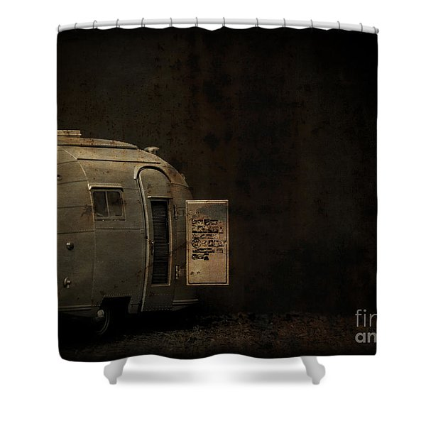 Spooky Airstream Campsite Shower Curtain by Edward Fielding