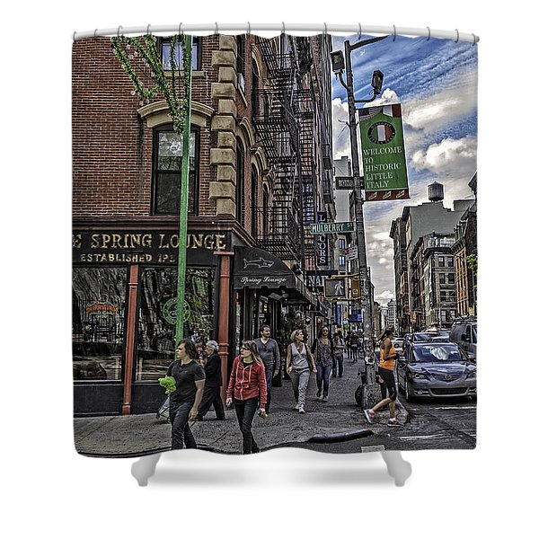 Spring and Mulberry - Street Scene - NYC Shower Curtain by Madeline Ellis