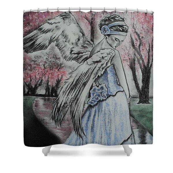 Spring Blossom Angel Shower Curtain by Carla Carson