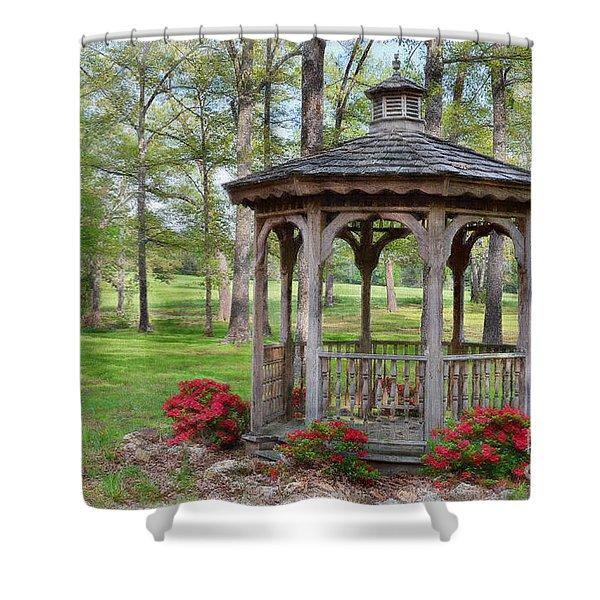 Spring Gazebo Pastel Effect Shower Curtain by Debbie Portwood