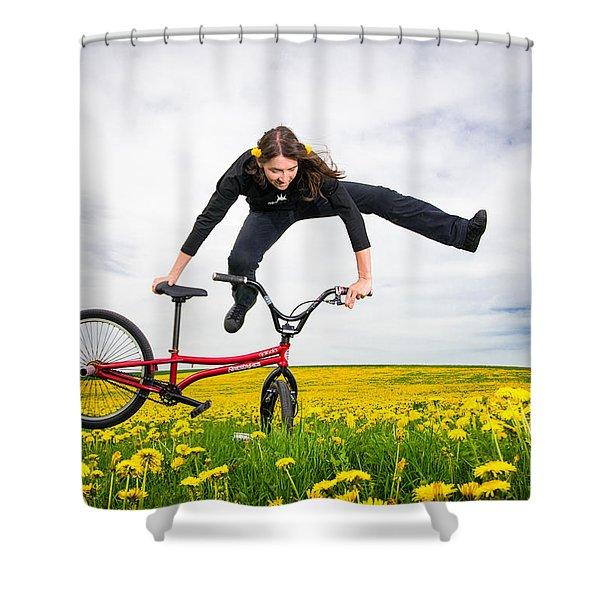Spring Has Sprung - Bmx Flatland Artist Monika Hinz Jumping In Yellow Flower Meadow Shower Curtain by Matthias Hauser