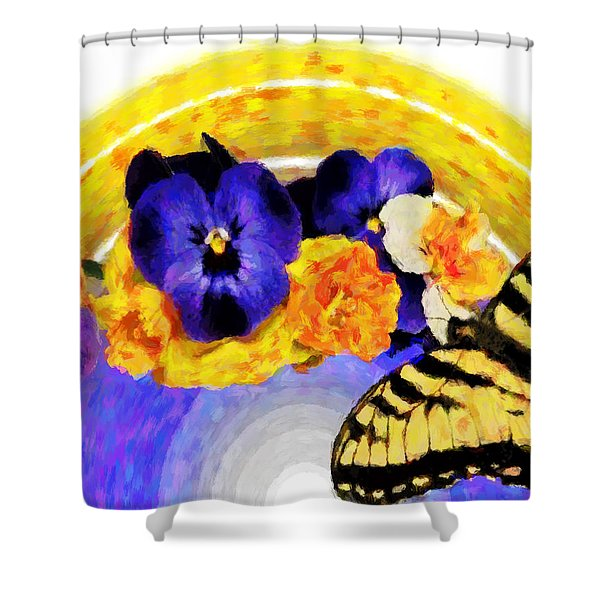 Spring Rainbow Shower Curtain by Susan Leggett