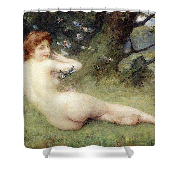 Springtime Shower Curtain by Charles Lenoir