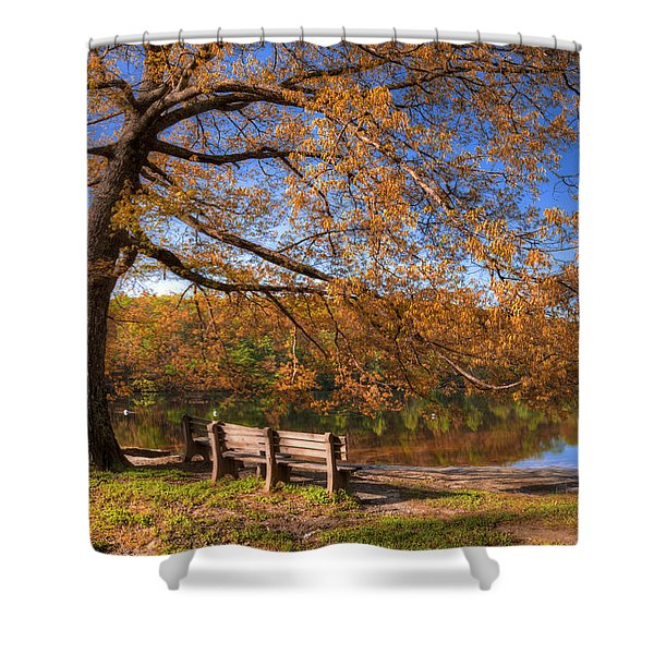 Springtime Fire Shower Curtain by Debra and Dave Vanderlaan