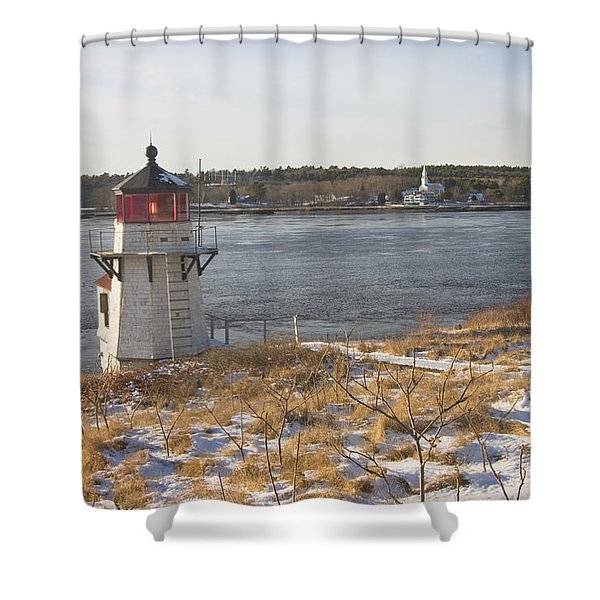 Squirrel Point Lighthouse Kennebec River Maine Shower Curtain by Keith Webber Jr