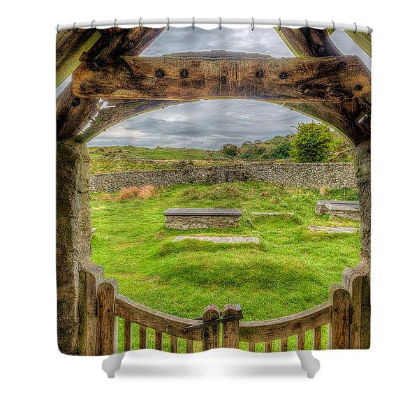 St Celynnin Graveyard Shower Curtain by Adrian Evans
