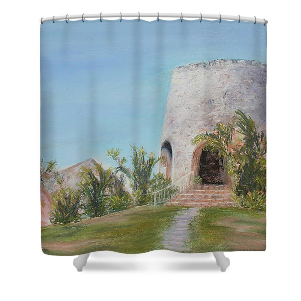St. Croix Sugar Mill Shower Curtain by Mary Benke