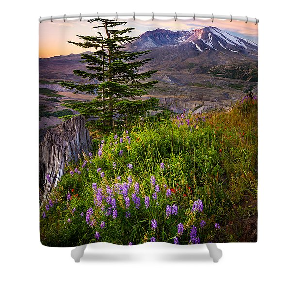 St Helens Caldera Shower Curtain by Inge Johnsson