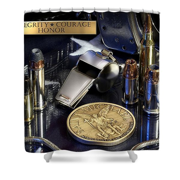 St Michael Law Enforcement Shower Curtain by Gary Yost