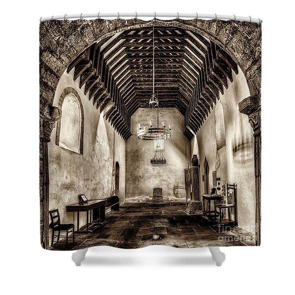 St Seirio Church Shower Curtain by Adrian Evans