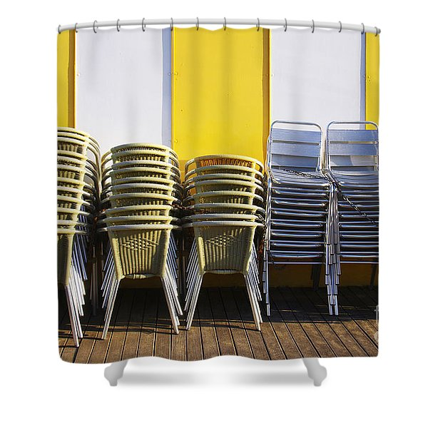 Stacks of Chairs and Tables Shower Curtain by Carlos Caetano