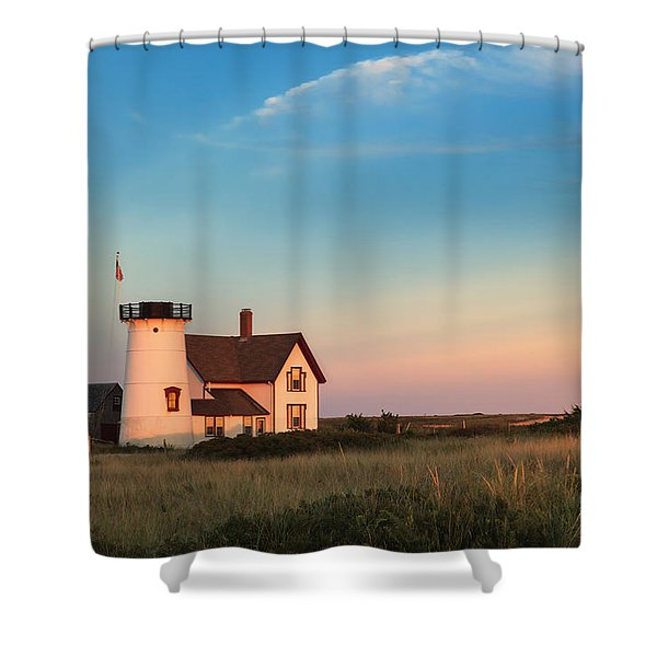 Stage Harbor Lighthouse Shower Curtain by Bill  Wakeley