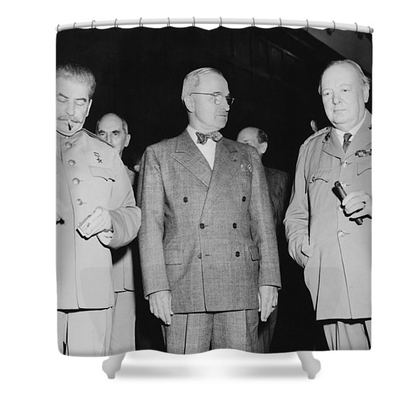 Stalin Truman And Churchill Shower Curtain by War Is Hell Store
