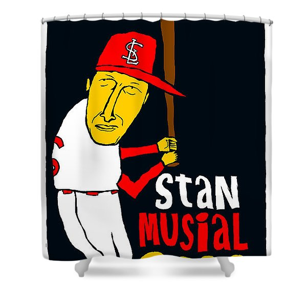 Stan Musial St Louis Cardinals Shower Curtain by Jay Perkins