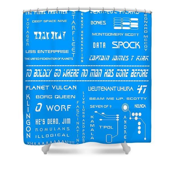 Star Trek Remembered in Blue Shower Curtain by Nomad Art And  Design