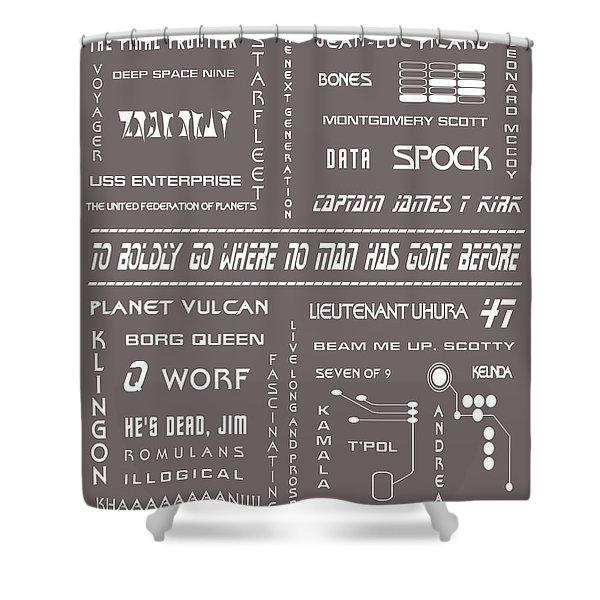 Star Trek Remembered In Grey Shower Curtain by Nomad Art And  Design