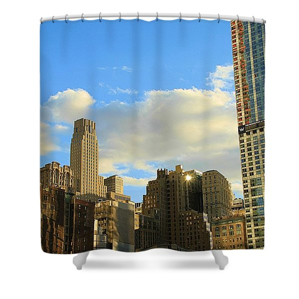 Manhattan Skyline Here Comes The Sun Shower Curtain by Dan Sproul