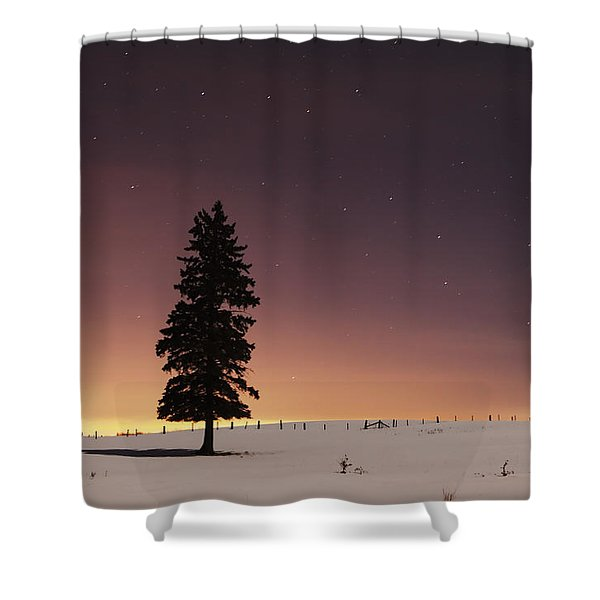 Stars In The Night Sky With Lone Tree Shower Curtain by Susan Dykstra