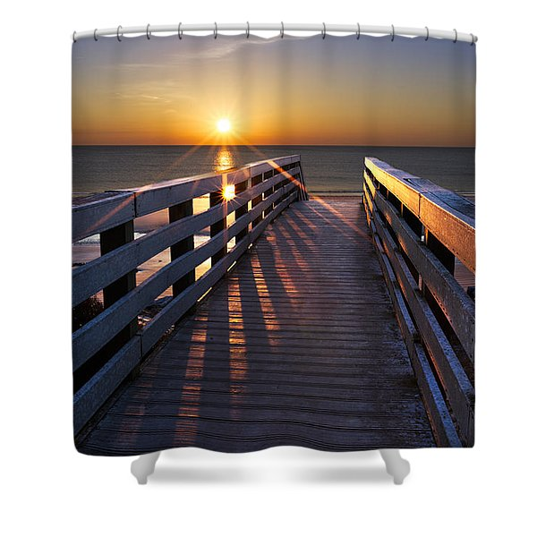 Stars on the Boardwalk Shower Curtain by Debra and Dave Vanderlaan