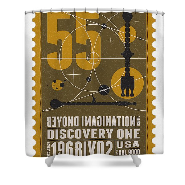 Starschips 55-poststamp -Discovery One Shower Curtain by Chungkong Art