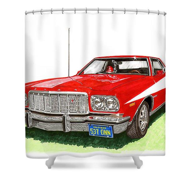 Starsky Hutch 1974 Ford Gran Torino Sport Shower Curtain by Jack Pumphrey