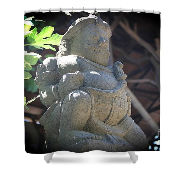 Statue In The Sun Shower Curtain by Jackie Mestrom