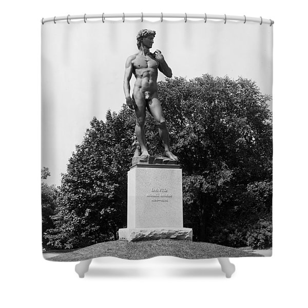 Statue Of David Delaware Park Buffalo Ny Shower Curtain by Digital Reproductions