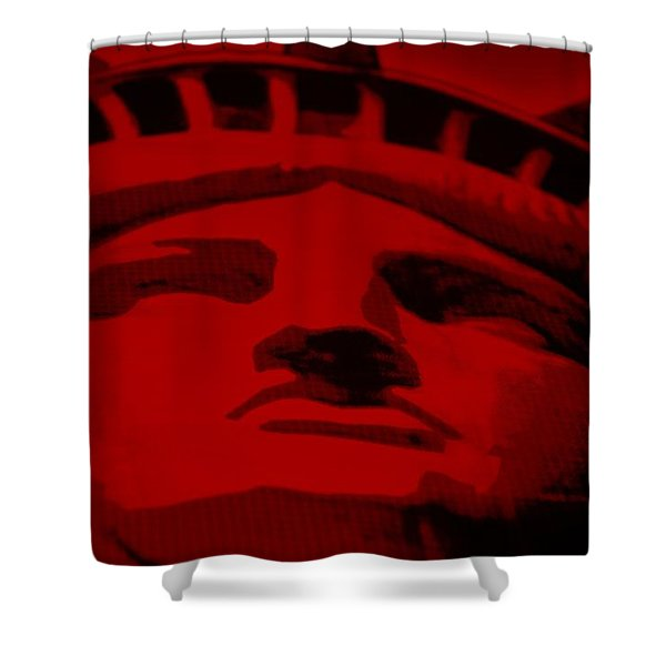 Statue Of Liberty In Red Shower Curtain by Rob Hans