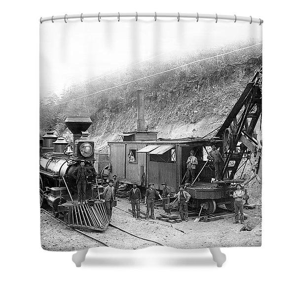 STEAM LOCOMOTIVE and STEAM SHOVEL 1882 Shower Curtain by Daniel Hagerman
