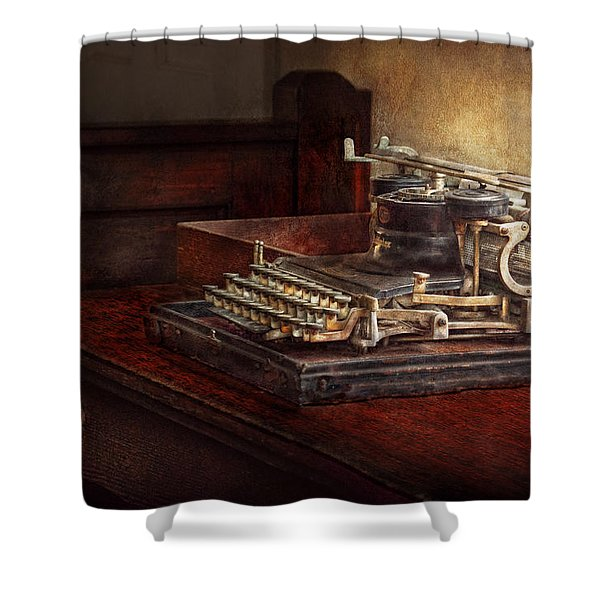 Steampunk - A crusty old typewriter Shower Curtain by Mike Savad