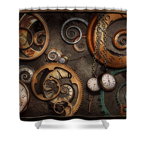Steampunk - Abstract - Time is complicated Shower Curtain by Mike Savad