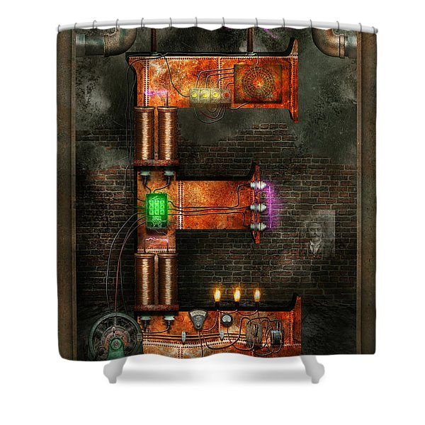 Steampunk - Alphabet - E is for Electricity Shower Curtain by Mike Savad