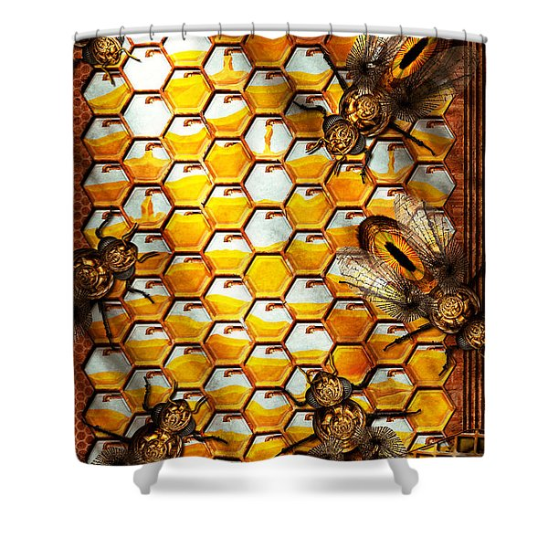 Steampunk - Apiary - The hive Shower Curtain by Mike Savad